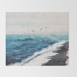 Watercolor Coast Throw Blanket