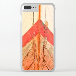 Orange Boat Hull Wooden Boats Fishing Fisherman Seafood Painted Wood Vintage Weathered Nautical Beac Clear iPhone Case