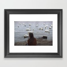 WOMEN AND SWANS Framed Art Print