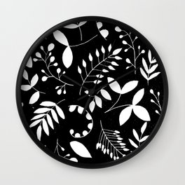 Laurels - Black & White Wall Clock