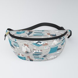 Life is better with books a hot drink and a friend // grey background brown white and blue beagles and cats and turquoise cozy details Fanny Pack