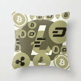 Ethereum, Bitcoin, Dash, Ripple, Litcoin pattern Throw Pillow