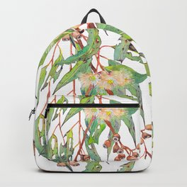 Watercolour eucalyptus tree branch with white flowers & gumnuts. Backpack