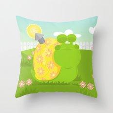 Green Snail (male) Throw Pillow