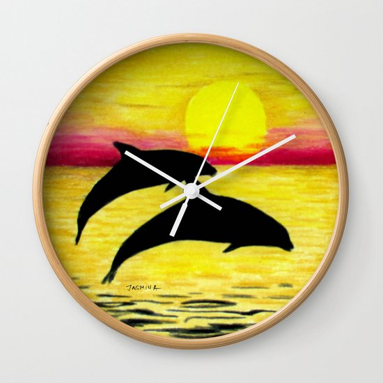 Sunset and Dolphins Wall Clock