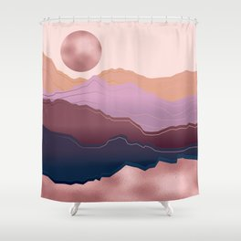 Golden Rose Mountains Shower Curtain