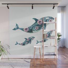 Rose Garden Whales Wall Mural