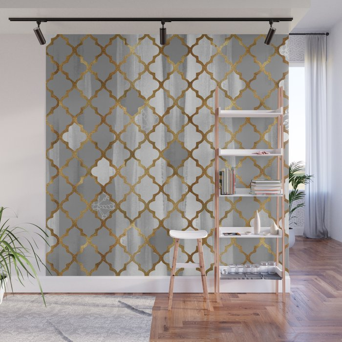 Moroccan Tile Pattern In Grey And Gold Wall Mural by ekaterinac
