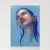 sci fi Stationery Cards featuring Sci-fi Music listening by Thubakabra