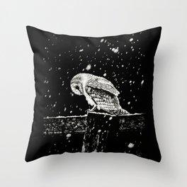 Snowfall at Night (Owl) Throw Pillow