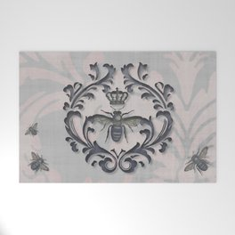 Pink and Gray Vintage Damask French Bee Welcome Mat