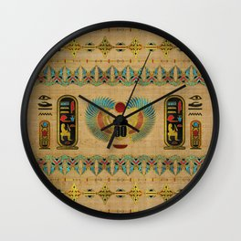 Egyptian Scarab  beetle  Ornament on papyrus Wall Clock