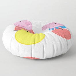 Peppa and George on space hoppers Floor Pillow