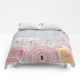 Floral Spring Greatings - Pastel Flowers Comforters