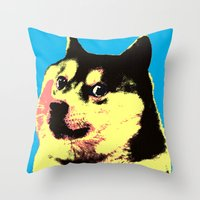doge Throw Pillows featuring Doge Pop by Julien