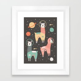 Astronaut Llamas in Space Framed Art Print