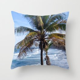 Black Sand Beaches and Palm trees Throw Pillow