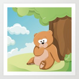 Cute Bear Relaxing Under a Tree Art Print