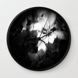Mixed color Poinsettias 1 Dark Wall Clock