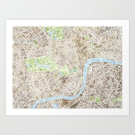 London Sepia watercolor map Art Print