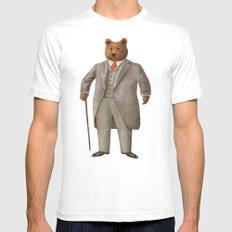 Mr. Bear White Mens Fitted Tee MEDIUM