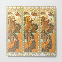 """Alphonse Mucha """"The Moon and the Stars Series: The Evening Star"""" Metal Print"""