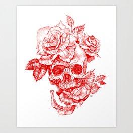 Roses and Human Skull - Red Art Print