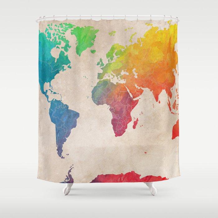 World Map 21 Maps Shower Curtain