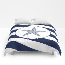 Nautical Starfish Navy Blue & White Stripes Beach Comforters