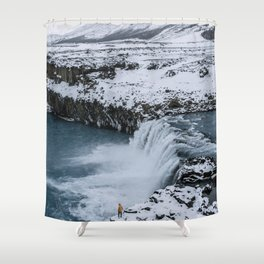 Waterfall in Icelandic highlands during winter with mountain - Landscape Photography Shower Curtain