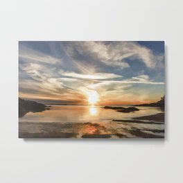 Plum Cove Beach Sunset Painting Metal Print