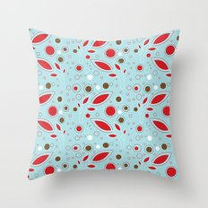 Retro blue and red pattern Throw Pillow