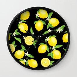 You're the Zest - Lemons on Black Wall Clock