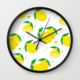 Big Lemon pattern Wall Clock