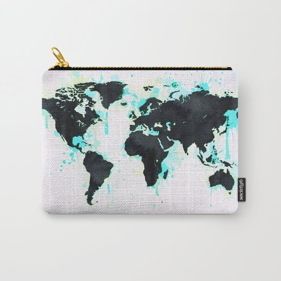 World Map Turquoise Paint and Black Ink Carry-All Pouch
