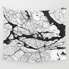 Stockholm Map Gray Wall Tapestry