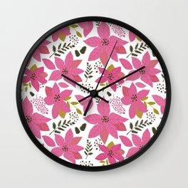 MickMick's  Serene Poinsettia Pink Wall Clock
