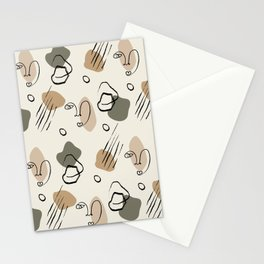 Abstract Expression-Shapes and Line Art Pattern Stationery Cards