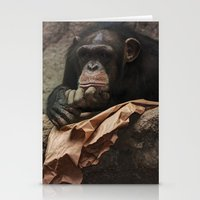 newspaper Stationery Cards featuring bored chimpanzee after reading newspaper by UtArt