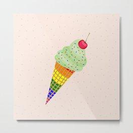 Colorful Ice Cream Cone Design Metal Print
