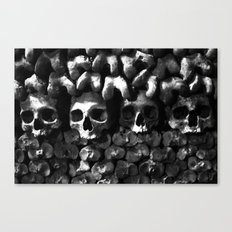 Skulls - Paris Catacombs, black and white version Canvas Print