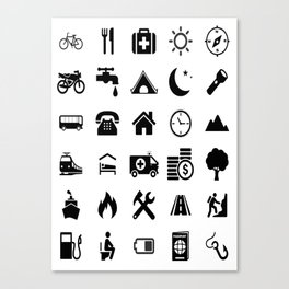 Extreme White Icon model: Traveler emoticon help for travel t-shirt Canvas Print