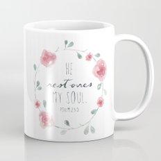 He Restores My Soul. Psalm 23:3, bible verse, watercolor flowers Mug