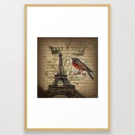 I love Paris Shabby chic Robin French Scripts Jubilee Crown Vintage Paris Eiffel Tower Framed Art Print