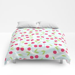 Seamless cherry pattern on striped Comforters