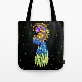Blue and Golden Paradise Bird Tote Bag