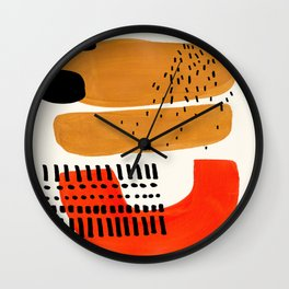 Mid Century Modern Abstract Minimalist Retro Vintage Style Fun Playful Ochre Yellow Ochre Orange Sha Wall Clock