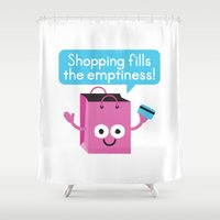 sagan Shower Curtains featuring Retail Therapy by David Olenick