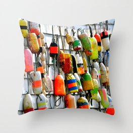 COLOURFUL FISHING FLOATS Throw Pillow