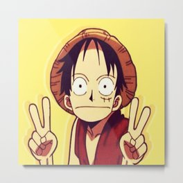 One Piece Luffy peace sign Metal Print